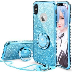 OCYCLONE iPhoneX/iPhoneXs 適応 リング付きケース キラキラ かわいい おしゃれ ストラップ ラインストーン 人気女 nano1