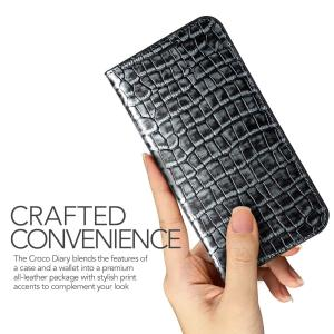 Galaxy S8 Plus ケース 手帳型 本革 VRS DESIGN Genuine Croco...