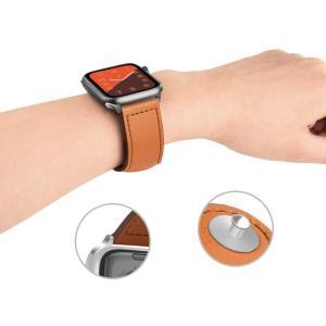 Bormoon コンパチブル Apple Watch 44mm バンド 42mm & 44mm に対応 レザー 交換ベルト Apple Wa|nano1