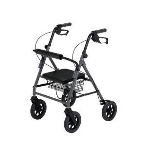 歩行器 歩行車 介護 福祉用品 椅子付 四輪 コンパクト 歩行丸ワイド HXS-395GY|nanohanakaigo