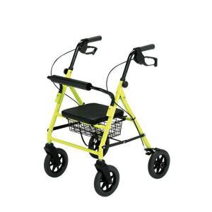 歩行器 歩行車 介護 福祉用品 椅子付 四輪 コンパクト 歩行丸ワイド HXS-395YL|nanohanakaigo