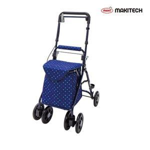 シルバーカー  ミドルサイズ  おしゃれ カバー 軽量  らくらくスリムバスケット ドットネイビー YX-371DN|nanohanakaigo