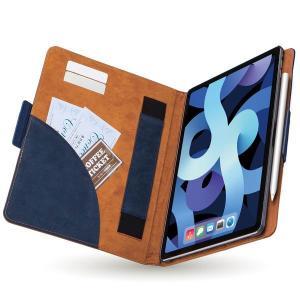 エレコム エレコム iPad Air 10.9インチ(第4世代/2020年モデル)/レザーケース/手帳型/フリーアングル/ツートンカラー/ネイビー×ブ メーカー在庫品 nanos