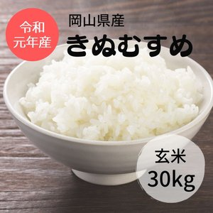 岡山県産 きぬむすめ 玄米30Kg 令和元年|nantan-smile