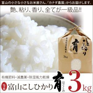 新米 こしひかり コシヒカリ 富山県産 3kg 普通米 無洗米 育 はぐくみ  メーカー直送品 なんとのほんまもん|nanto
