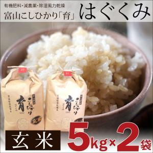新米 令和3年度産 こしひかり コシヒカリ 玄米 5kg×2袋 カナダ農園 はぐくみ 育 富山県産|nanto