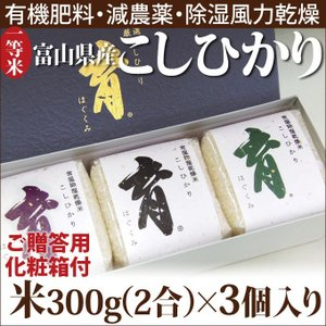 新米 こしひかり コシヒカリ 富山県産 ギフトセット 詰め合わせ 300g(2合)×3個入 普通米 無洗米 育 はぐくみ なんとのほんまもん|nanto
