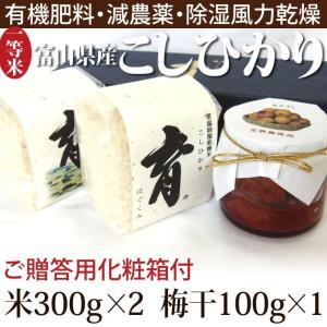 新米 こしひかり コシヒカリ 富山県産 ギフトセット 詰め合わせ 300g(2合)×2個入 梅干し100g×1 普通米 無洗米 育 はぐくみ なんとのほんまもん|nanto
