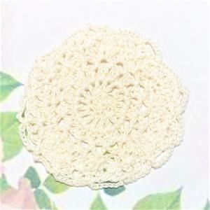 コットンコースター レース編み ホワイト 手作り|naorelax