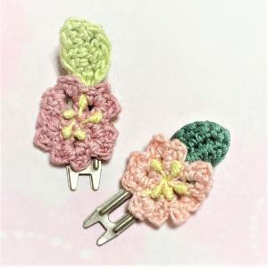 春色ヘアクリップ ピンクのヘアピン レース編み コットン フラワー ハンドメイド|naorelax