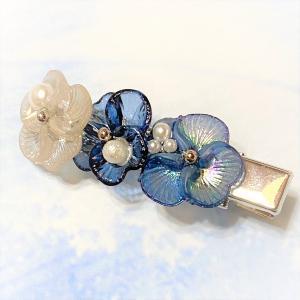 染ビーズのお花カボションのヘアクリップ 髪飾り ヘアピン ブルーアクセサリー|naorelax