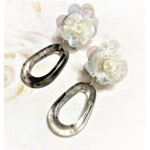 お花のイヤリング シルバーフラワー 氷花 銀のイヤリング|naorelax