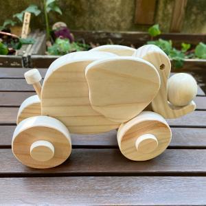 ぞうの動くおもちゃ 木のおもちゃ ぞうさん コロコロ ハンドメイド|naorelax
