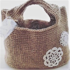 ジュートトートバッグ 麻紐 手編み|naorelax