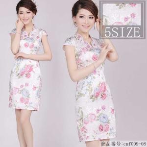 チャイナドレス ミニ ワンピース 花柄 半袖 チャイナ服 チャイナ風 パーティードレス コスプレ 衣装 ハロウィン コスチューム 結婚式  パーティー お呼ばれ|nara-amaken