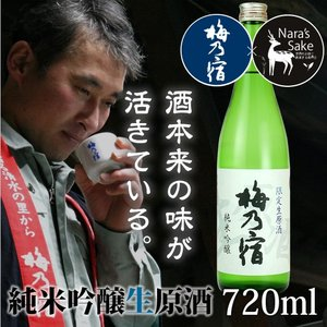 「梅乃宿」純米吟醸生原酒720ml/奈良県産ひのひかり/生酒/非加熱/冷酒/純米吟醸酒|nara-izumiya