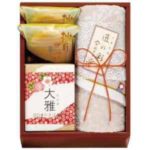 今治タオル&和菓子詰合せ IMW-15F  5個からのご注文 出産内祝い 名入れギフト 内祝い お返し のし包装無料|naragift-ys