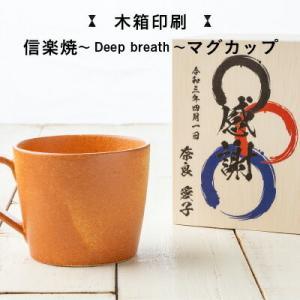 名入れ木箱入り 信楽焼 マグカップ 陶器 マグカップ コップ 和食器 焼き物 土物 木箱入 ギフト 単品|naranokoto