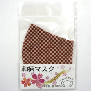 洗える布マスク 和柄マスク m1 格子柄 赤|narazake