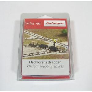 Auhagen 41703 HOナロー(1/87) フラットカー 3両 レプリカ|narrow-gauge-shop