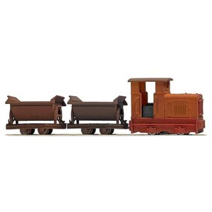 ブッシュ/BUSCH 12117 HOf (1/87,6.5mm) グマインダー ディーゼル機関車 チッパーワゴンセット (錆色)|narrow-gauge-shop