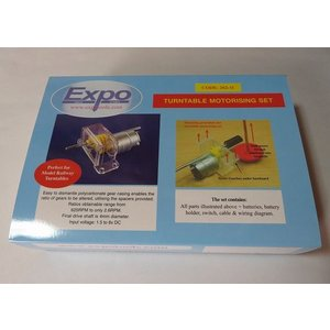 Expo Drills&Tools 26211 ターンテーブル 電動化セット (EX26210/ギア/シャフト/電池ボックス/スイッチ/ケーブル) (PECO NB-55/LK-55/LK-555に適合)|narrow-gauge-shop