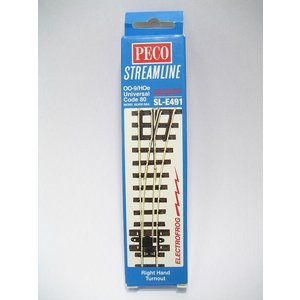 PECO SL-E491 OO-9/HOe (9mm) 小型ポイントレール(右) コード80 (選択式)|narrow-gauge-shop