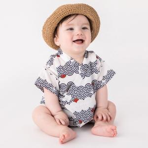 ■新生児 ■オリジナリティーあふれるパターンで、周りと差がつく甚平ロンパースです。袖のハシゴレース切...