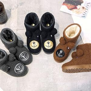 くま 熊 クマ もこもこ ムートン ブーツ フラットシューズ 秋冬 防寒 レディース 靴 ローヒール ぺたんこ|nary