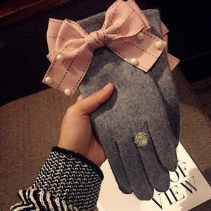 手袋 グローブ ピンク リボン パール リング 指輪 装飾 防寒 可愛い 秋冬 レディース ファッション小物 nary