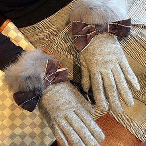 手袋 グローブ リボン ファー 防寒 可愛い 秋冬 レディース ファッション小物 nary