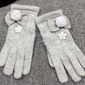 手袋 グローブ リボン 花 フラワー パール 防寒 手編み風 可愛い 秋冬 レディース ファッション小物 nary