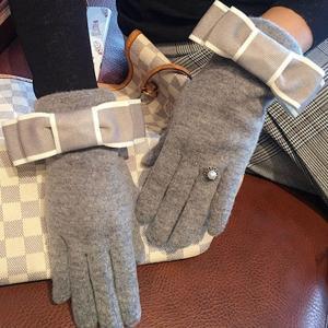 手袋 グローブ リボン 指輪 リング パール ストーン 防寒 可愛い 秋冬 裏起毛 レディース nary