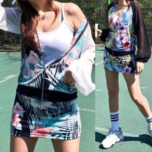 ゴルフウェア セットアップ レディース 花柄 フラワー  スカート 長袖 可愛い|nary
