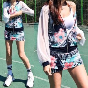 ゴルフウェア セットアップ レディース 花柄 フラワー  スカート 長袖 可愛い|nary|07