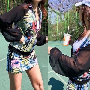 ゴルフウェア セットアップ レディース 花柄 フラワー  スカート 長袖 可愛い|nary|09