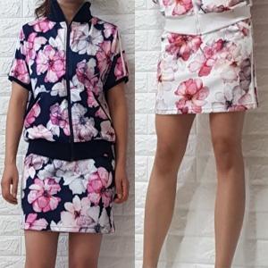ゴルフウェア レディース セットアップ 上下 スカート 花柄 半袖