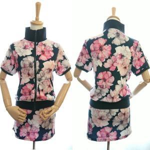 ゴルフウェア レディース セットアップ 上下 スカート 花柄 半袖|nary|02