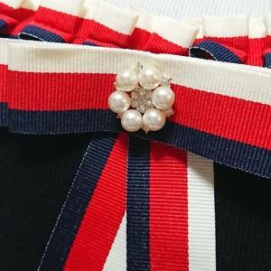 ワンピース ミディアム トリコロールカラー リボン フリル 襟 nary 11