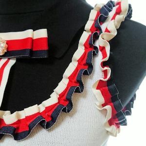 ワンピース ミディアム トリコロールカラー リボン フリル 襟 nary 06