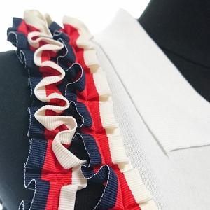 ワンピース ミディアム トリコロールカラー リボン フリル 襟 nary 09