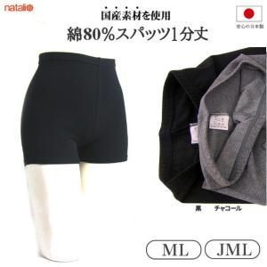 日本製 スパッツ 1分丈 ML/JML 黒 チャコール 透け難い綿80%素材 レギンス スポーツウェアー 冷え性対策 ヨガウエア|natalie-go