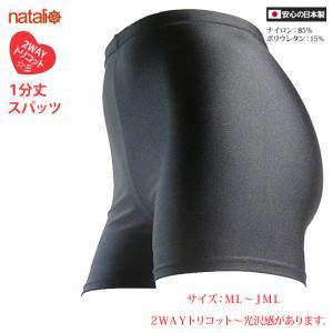 日本製 スパッツ 1分丈 黒 2WAYトリコット 吸汗速乾 ML-JML フィットネス エアロビクス ヨガウエア ジャズダンス 舞踊など|natalie-go