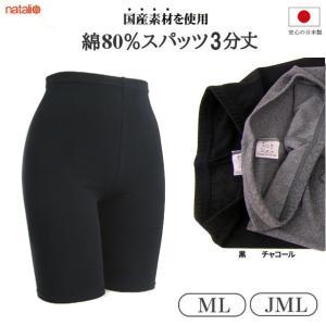 日本製 スパッツ 3分丈 ML/JML 黒 チャコール 透け難い綿80%素材 レギンス スポーツウェアー 冷え性対策 ヨガウエア|natalie-go