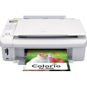 旧モデル エプソン MultiPhoto Colorio 普通紙くっきり フォト複合機 4色顔料インク PX-501A|natsumestore