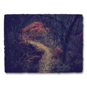 おしゃれな和紙のインテリアアートパネル「赤いもみじと落葉の山道」(18x24cm)|natum
