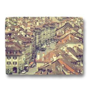 おしゃれな和紙のインテリアアートパネル「ベルンの街並とトロリーバス」(18x24cm)|natum