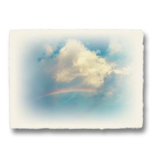 おしゃれな和紙のインテリアアートパネル「虹と入道雲」(18x24cm)|natum