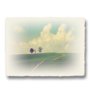 おしゃれな和紙のインテリアアートパネル「入道雲と親子の木へと続く道」(18x24cm)|natum