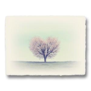 おしゃれな和紙のインテリアアートパネル「丘の上の一本のハートの桜の木」(18x24cm)|natum